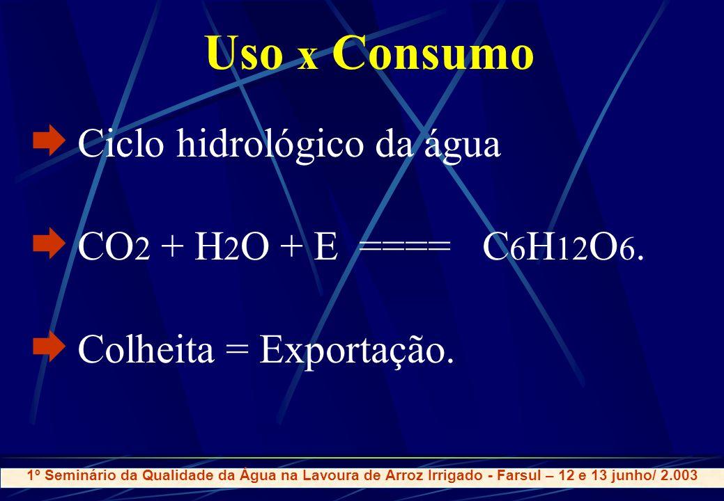 Uso x Consumo Ciclo hidrológico da água CO + H 2 O + E ==== C 6 H 12 O 6.