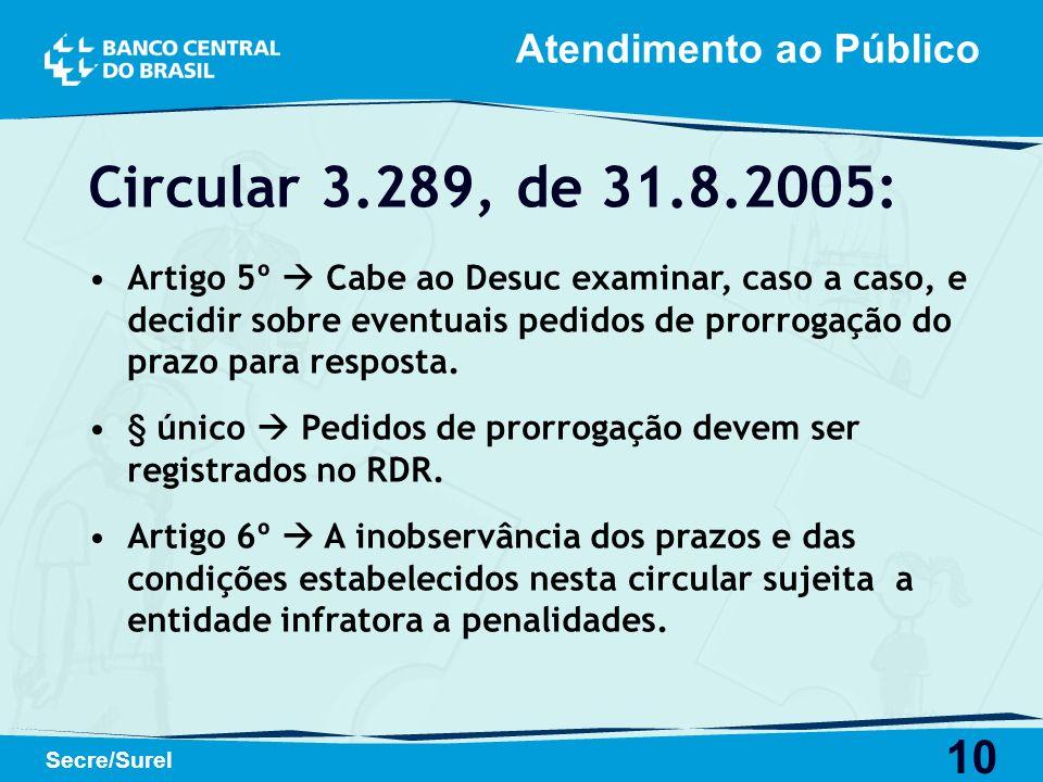 10 Secre/Surel Circular 3.289, de 31.8.2005: Artigo 5º Cabe ao Desuc examinar, caso a caso, e decidir sobre eventuais pedidos de prorrogação do prazo