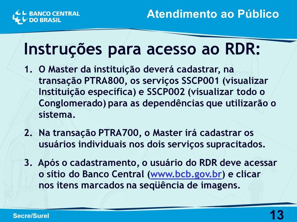 13 Secre/Surel Instruções para acesso ao RDR: 1. 1.O Master da instituição deverá cadastrar, na transação PTRA800, os serviços SSCP001 (visualizar Ins