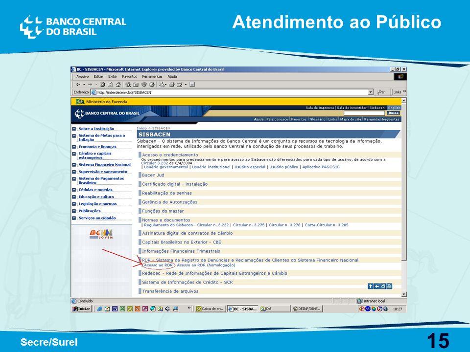 15 Secre/Surel Atendimento ao Público
