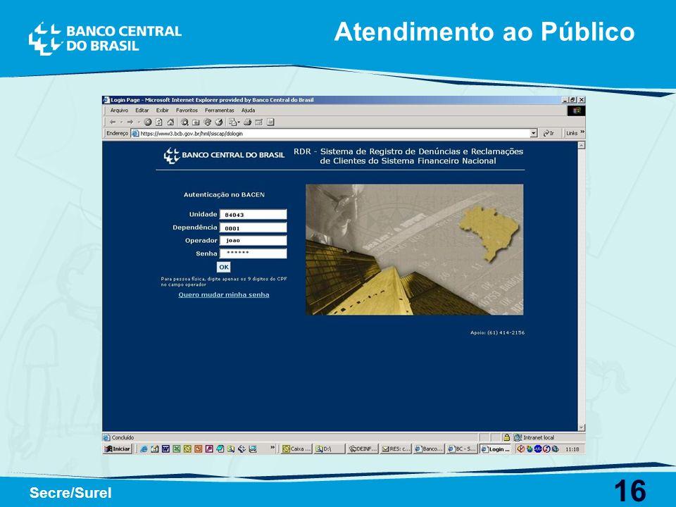 16 Secre/Surel Atendimento ao Público