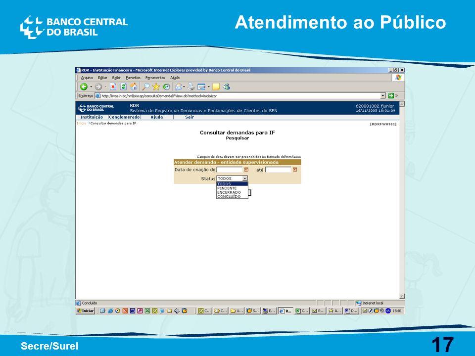 17 Secre/Surel Atendimento ao Público