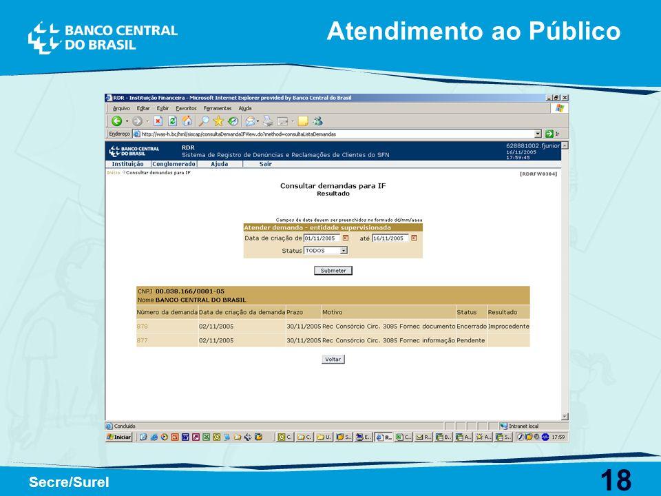 18 Secre/Surel Atendimento ao Público