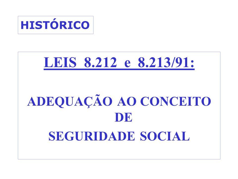 HISTÓRICO LEIS 8.212 e 8.213/91: ADEQUAÇÃO AO CONCEITO DE SEGURIDADE SOCIAL