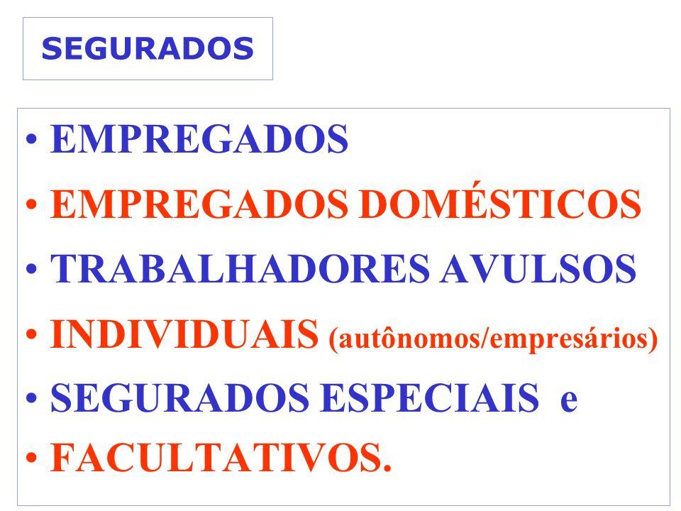 SEGURADOS EMPREGADOS EMPREGADOS DOMÉSTICOS TRABALHADORES AVULSOS INDIVIDUAIS (autônomos/empresários) SEGURADOS ESPECIAIS e FACULTATIVOS.