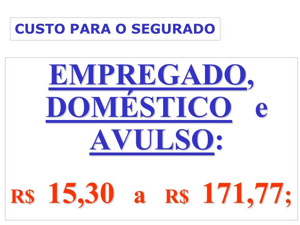CUSTO PARA O SEGURADO EMPREGADO, DOMÉSTICO e AVULSO: R$ 15,30 a R$ 171,77 ;