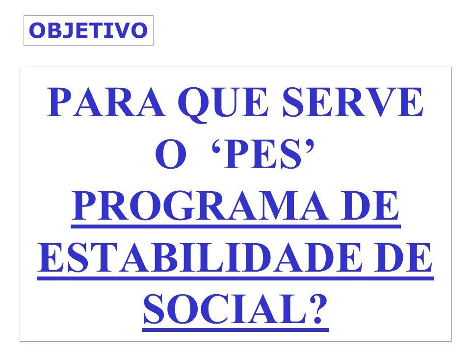 PARA QUE SERVE O PES PROGRAMA DE ESTABILIDADE DE SOCIAL? OBJETIVO