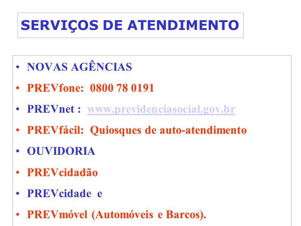 SERVIÇOS DE ATENDIMENTO NOVAS AGÊNCIAS PREVfone: 0800 78 0191 PREVnet : www.previdenciasocial.gov.brwww.previdenciasocial.gov.br PREVfácil: Quiosques