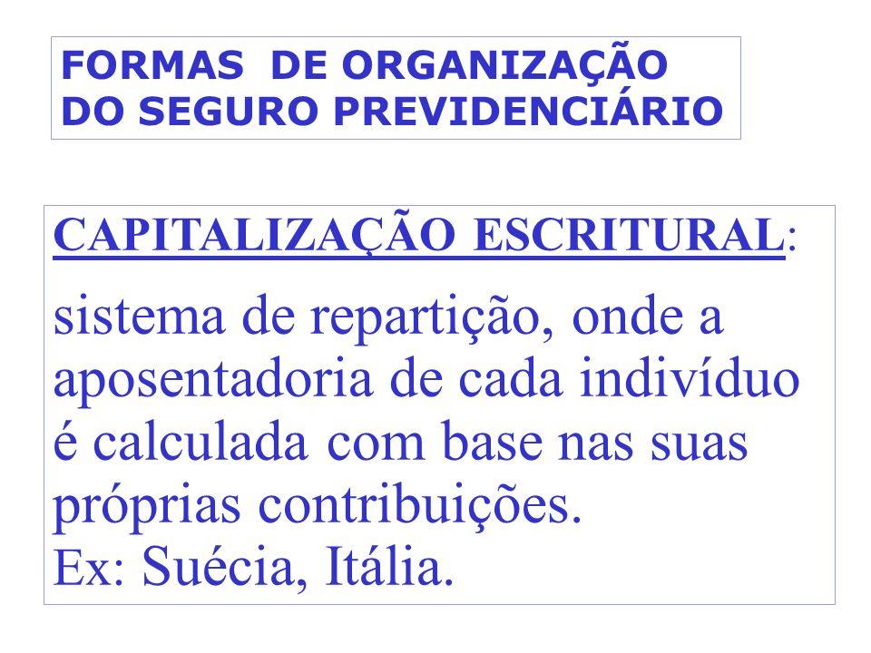 CAPITALIZAÇÃO ESCRITURAL: sistema de repartição, onde a aposentadoria de cada indivíduo é calculada com base nas suas próprias contribuições. Ex: Suéc
