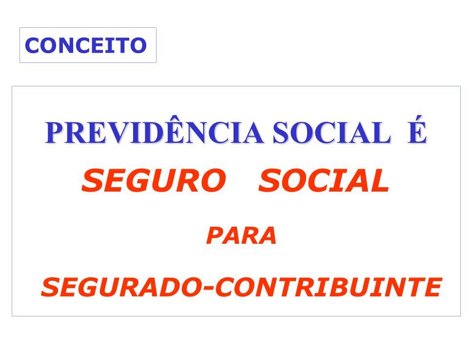 CONCEITO PREVIDÊNCIA SOCIAL É SEGURO SOCIAL PARA SEGURADO-CONTRIBUINTE