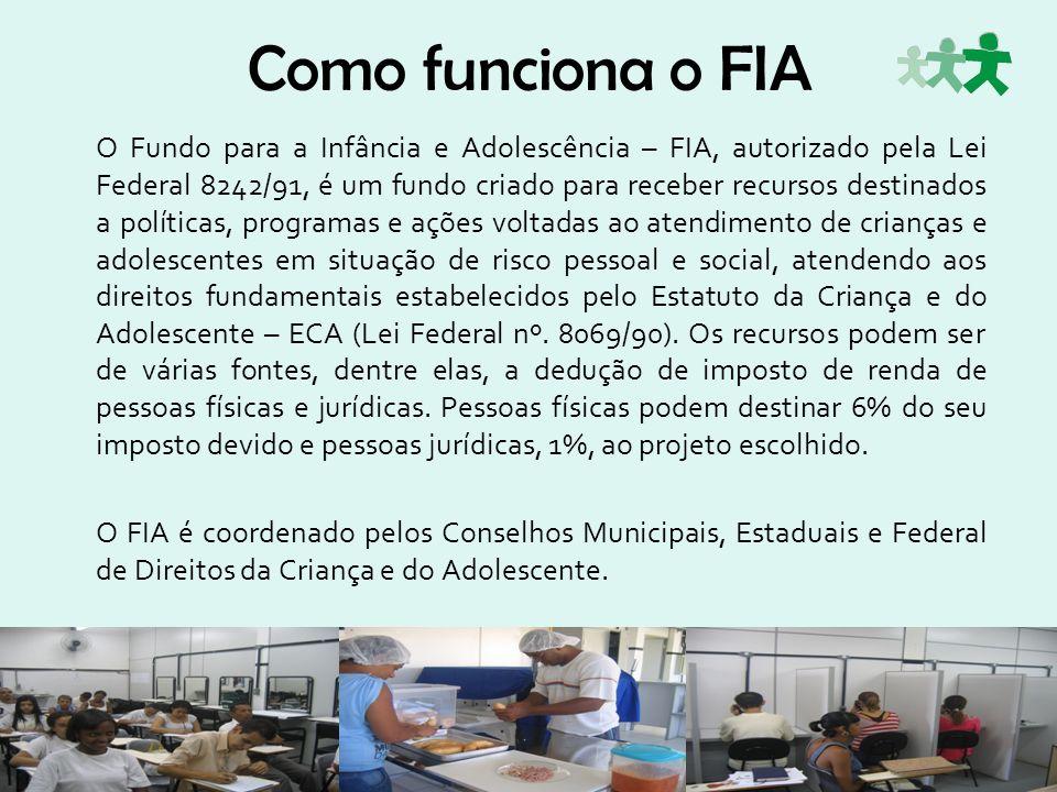 Como funciona o FIA O Fundo para a Infância e Adolescência – FIA, autorizado pela Lei Federal 8242/91, é um fundo criado para receber recursos destina
