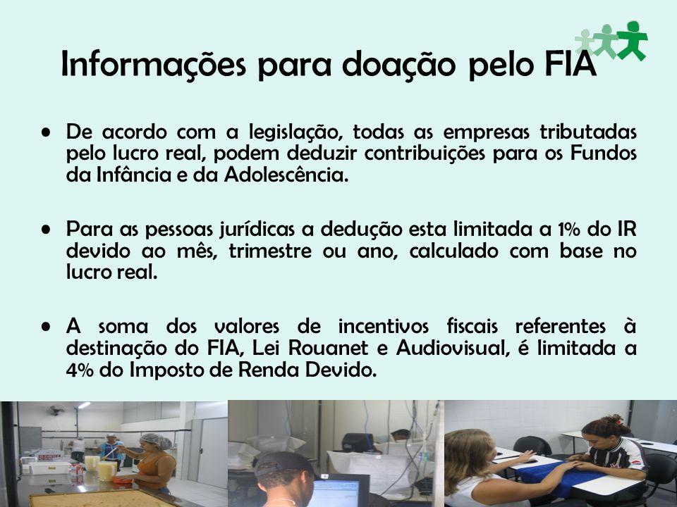 Informações para doação pelo FIA De acordo com a legislação, todas as empresas tributadas pelo lucro real, podem deduzir contribuições para os Fundos