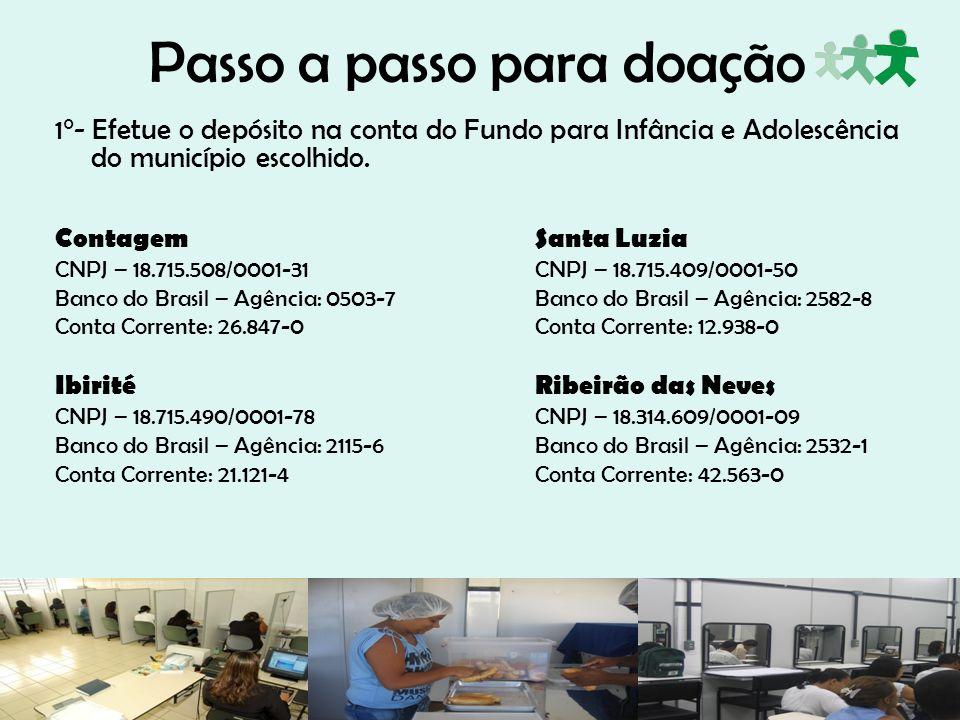 Passo a passo para doação 1°- Efetue o depósito na conta do Fundo para Infância e Adolescência do município escolhido. Contagem Santa Luzia CNPJ – 18.