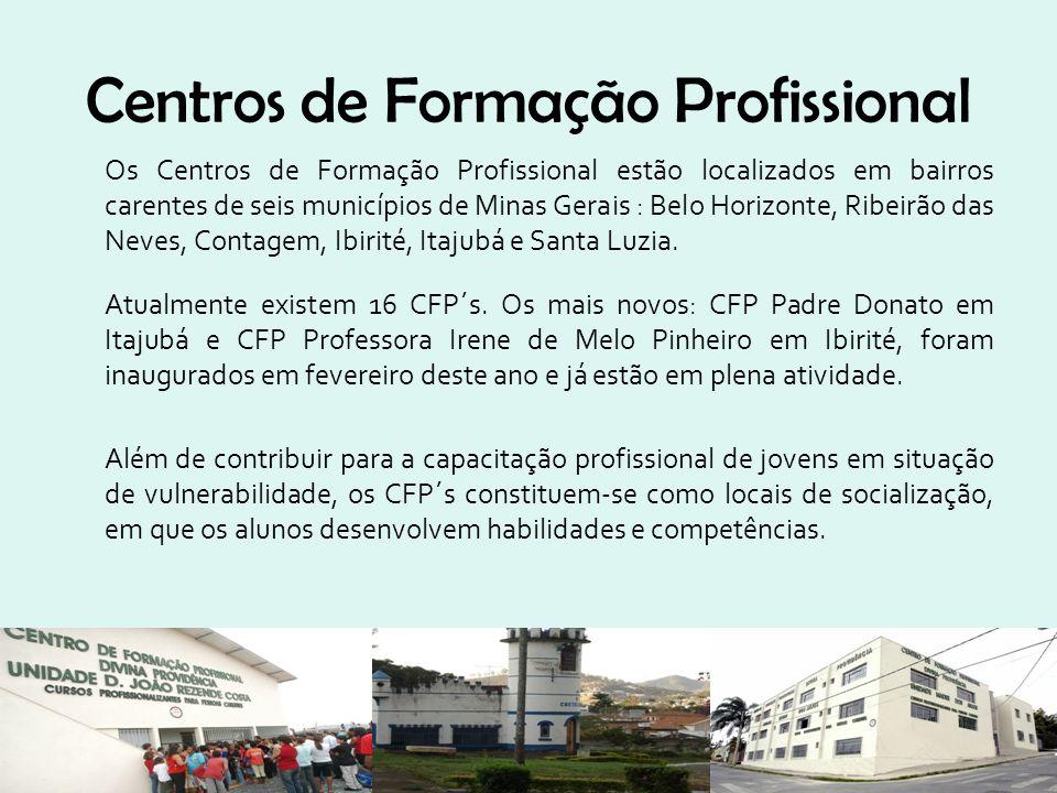 Centros de Formação Profissional Os Centros de Formação Profissional estão localizados em bairros carentes de seis municípios de Minas Gerais : Belo H