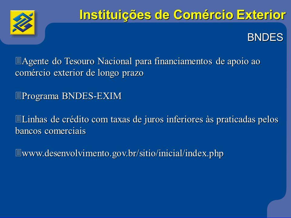 BNDES 3Agente do Tesouro Nacional para financiamentos de apoio ao comércio exterior de longo prazo 3Programa BNDES-EXIM 3Linhas de crédito com taxas d