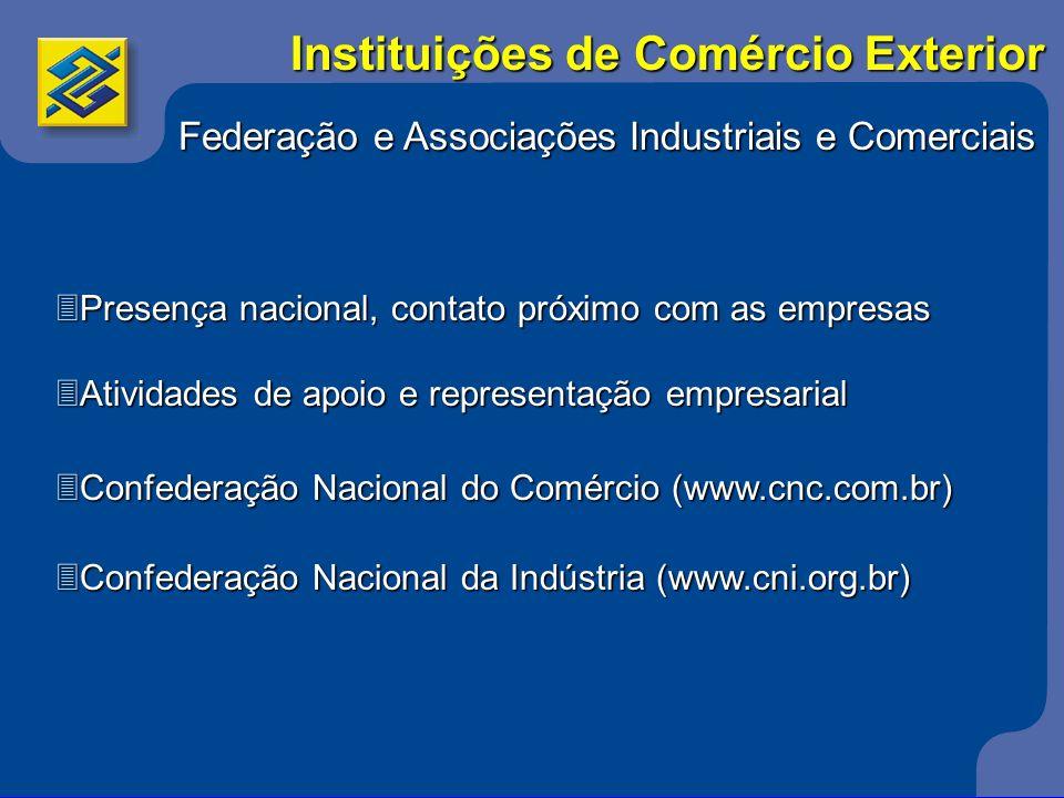 Federação e Associações Industriais e Comerciais 3Presença nacional, contato próximo com as empresas 3Atividades de apoio e representação empresarial