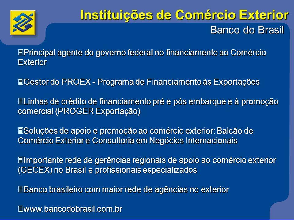 Banco do Brasil 3Principal agente do governo federal no financiamento ao Comércio Exterior 3Gestor do PROEX - Programa de Financiamento às Exportações