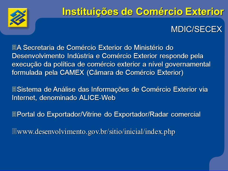 MDIC/SECEX 3A Secretaria de Comércio Exterior do Ministério do Desenvolvimento Indústria e Comércio Exterior responde pela execução da política de com