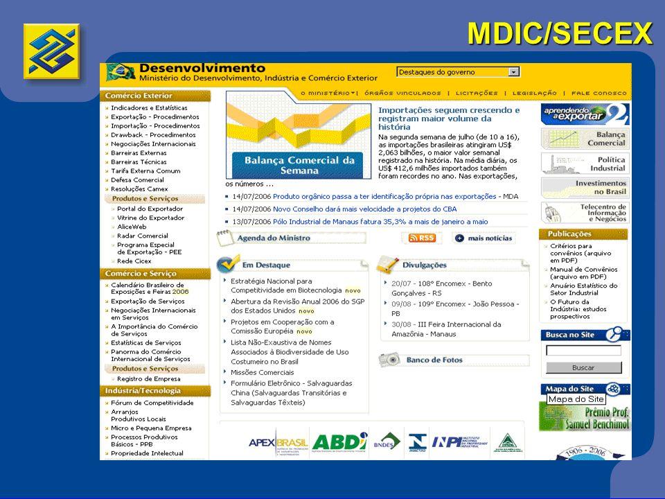 SEBRAE 3Presença nacional, contato próximo com as empresas 3600 pontos de atendimento 3Programas e projetos: 3Acesso à Tecnologia 3Desenvolvimento Setorial 3Orientação Empresarial 3Educação Empreendedora 3Políticas Públicas 3Desenvolvimento Local 3Assessoria Internacional 3www.desenvolvimento.gov.br/sitio/inicial/index.php Instituições de Comércio Exterior