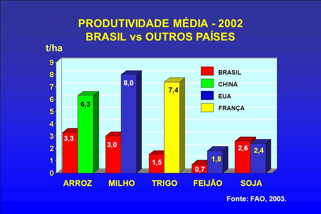 PRODUTIVIDADE MÉDIA - 2002 BRASIL vs OUTROS PAÍSES t/ha ARROZMILHOTRIGOFEIJÃOSOJA Fonte: FAO, 2003. BRASIL 3,3 3,0 1,5 0,7 2,6 6,3 8,0 CHINA EUA FRANÇ
