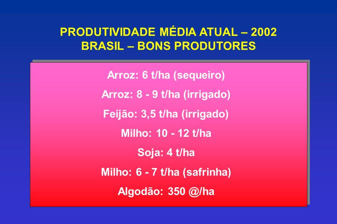 PRODUTIVIDADE MÉDIA ATUAL – 2002 BRASIL – BONS PRODUTORES Arroz: 6 t/ha (sequeiro) Arroz: 8 - 9 t/ha (irrigado) Feijão: 3,5 t/ha (irrigado) Milho: 10 - 12 t/ha Soja: 4 t/ha Milho: 6 - 7 t/ha (safrinha) Algodão: 350 @/ha