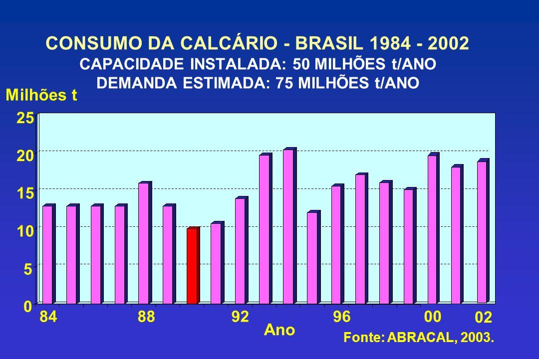 CONSUMO DA CALCÁRIO - BRASIL 1984 - 2002 CAPACIDADE INSTALADA: 50 MILHÕES t/ANO DEMANDA ESTIMADA: 75 MILHÕES t/ANO 0 5 10 15 20 25 8488929600 02 Milhões t Ano Fonte: ABRACAL, 2003.