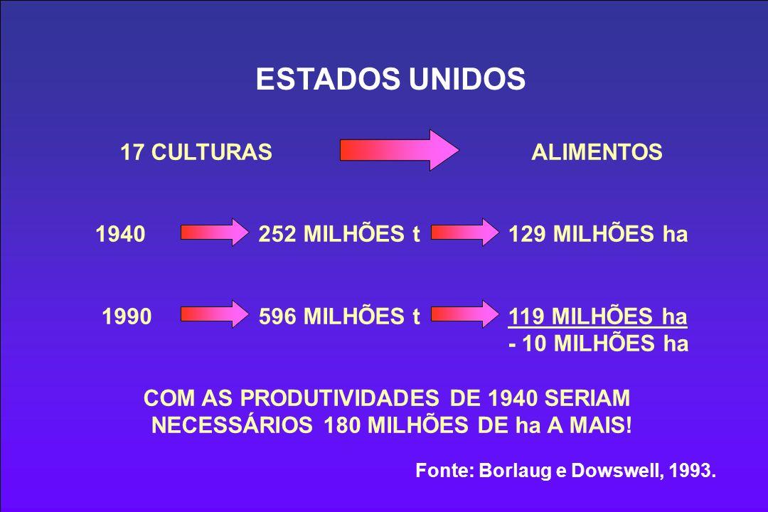 ESTADOS UNIDOS 17 CULTURAS ALIMENTOS 1940 252 MILHÕES t 129 MILHÕES ha 1990 596 MILHÕES t 119 MILHÕES ha - 10 MILHÕES ha COM AS PRODUTIVIDADES DE 1940 SERIAM NECESSÁRIOS 180 MILHÕES DE ha A MAIS.