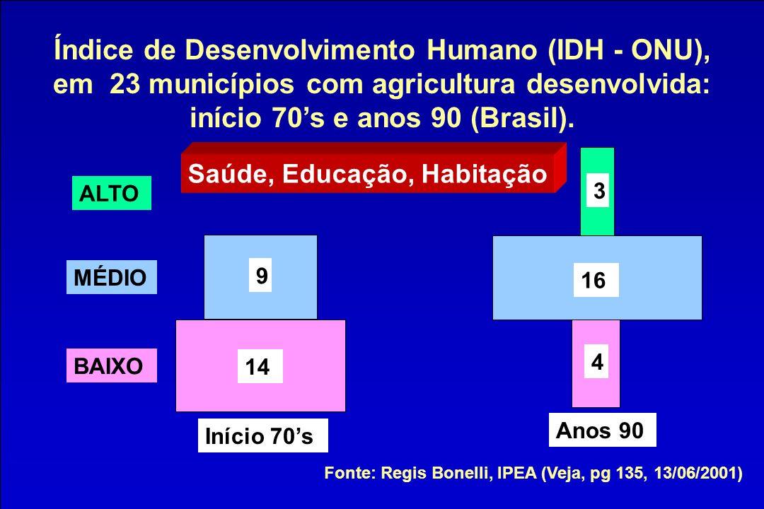 Índice de Desenvolvimento Humano (IDH - ONU), em 23 municípios com agricultura desenvolvida: início 70s e anos 90 (Brasil). Fonte: Regis Bonelli, IPEA