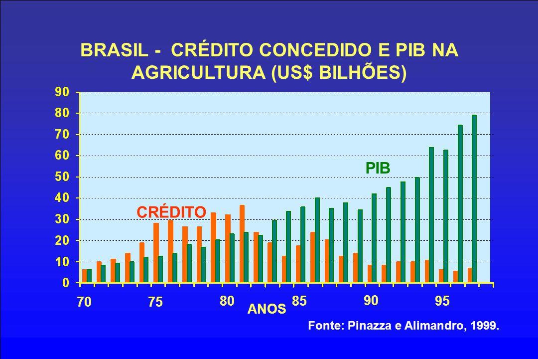 BRASIL - CRÉDITO CONCEDIDO E PIB NA AGRICULTURA (US$ BILHÕES) 7075 8085 90 95 CRÉDITO PIB ANOS Fonte: Pinazza e Alimandro, 1999.