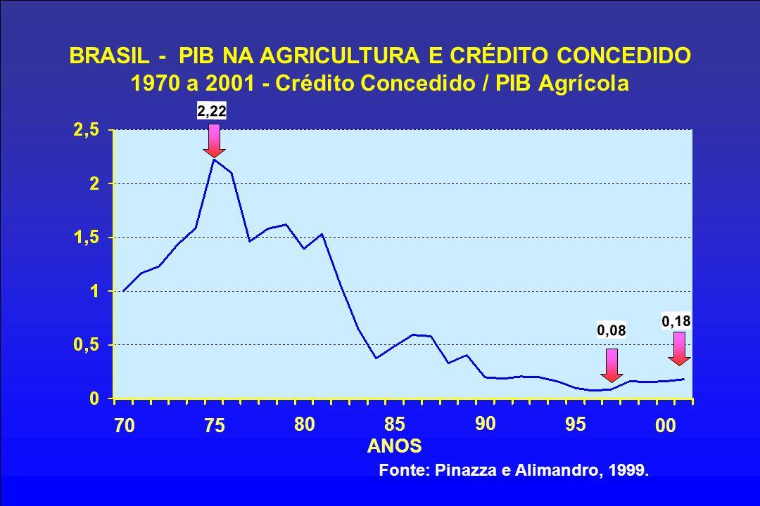 BRASIL - PIB NA AGRICULTURA E CRÉDITO CONCEDIDO 1970 a 2001 - Crédito Concedido / PIB Agrícola 7075 8085 90 95 ANOS Fonte: Pinazza e Alimandro, 1999.