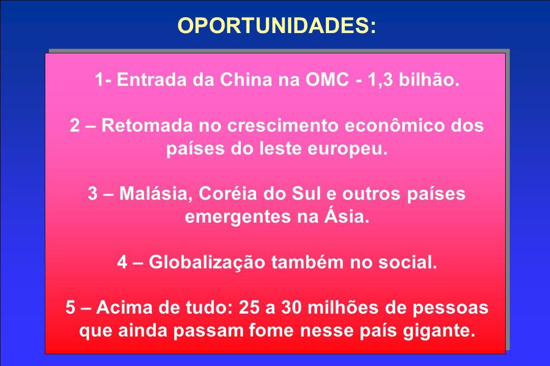 OPORTUNIDADES: 1- Entrada da China na OMC - 1,3 bilhão. 2 – Retomada no crescimento econômico dos países do leste europeu. 3 – Malásia, Coréia do Sul
