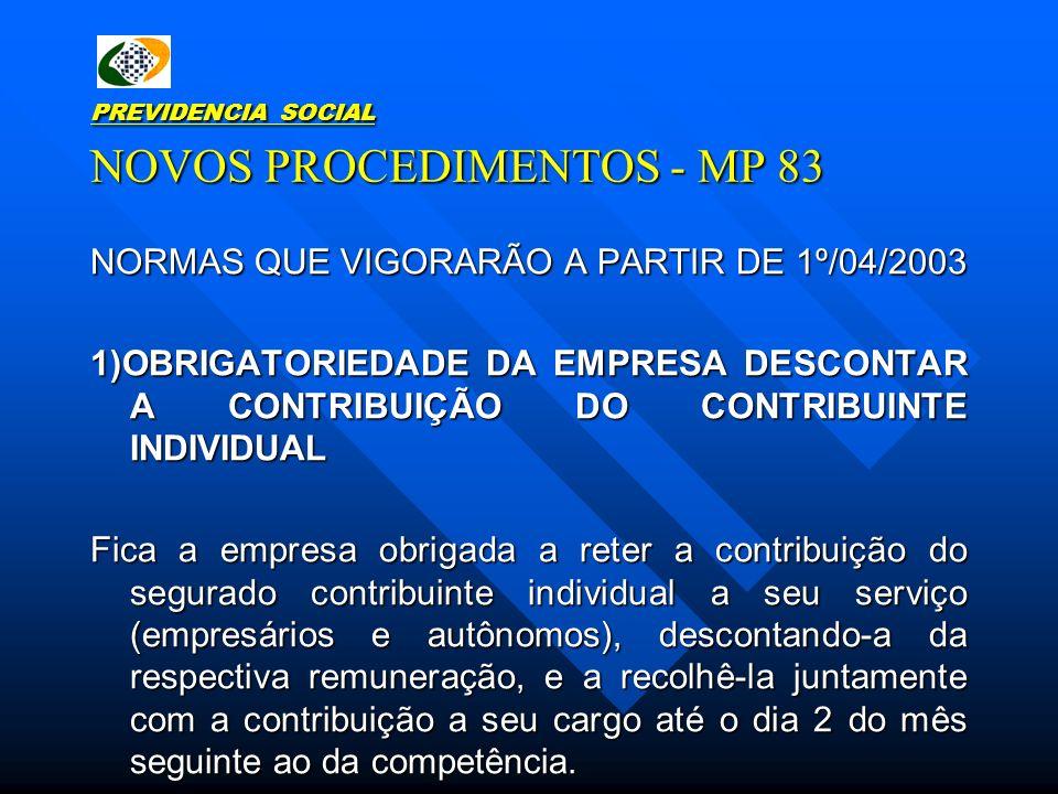 PREVIDENCIA SOCIAL NOVOS PROCEDIMENTOS - MP 83 NORMAS QUE VIGORARÃO A PARTIR DE 1º/04/2003 1)OBRIGATORIEDADE DA EMPRESA DESCONTAR A CONTRIBUIÇÃO DO CO