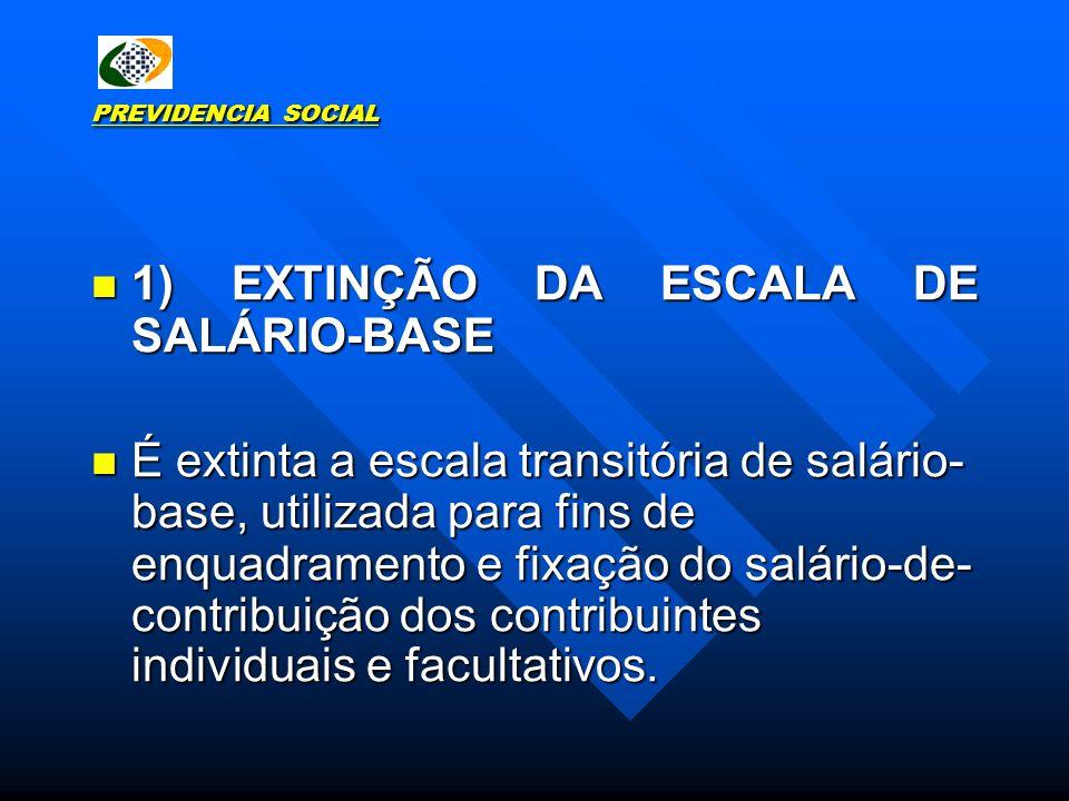 PREVIDENCIA SOCIAL 1) EXTINÇÃO DA ESCALA DE SALÁRIO-BASE 1) EXTINÇÃO DA ESCALA DE SALÁRIO-BASE É extinta a escala transitória de salário- base, utiliz