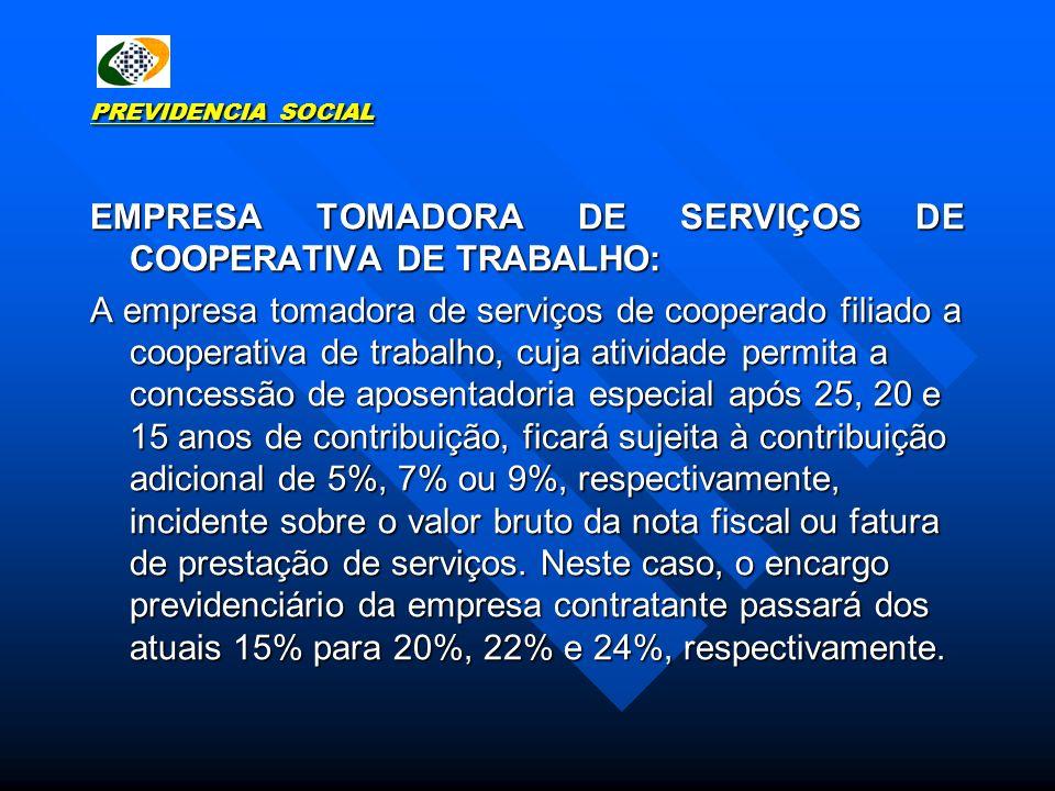 PREVIDENCIA SOCIAL EMPRESA TOMADORA DE SERVIÇOS DE COOPERATIVA DE TRABALHO: A empresa tomadora de serviços de cooperado filiado a cooperativa de traba