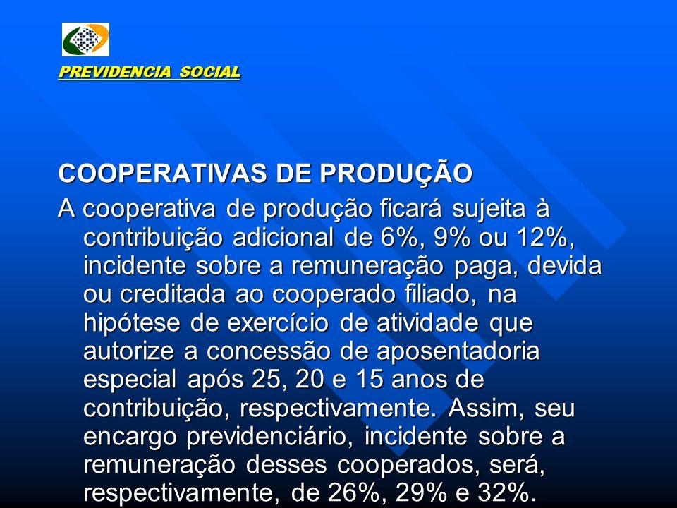 PREVIDENCIA SOCIAL COOPERATIVAS DE PRODUÇÃO A cooperativa de produção ficará sujeita à contribuição adicional de 6%, 9% ou 12%, incidente sobre a remu