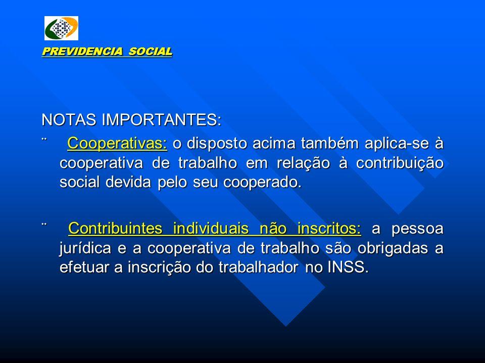 PREVIDENCIA SOCIAL NOTAS IMPORTANTES: Cooperativas: o disposto acima também aplica-se à cooperativa de trabalho em relação à contribuição social devid