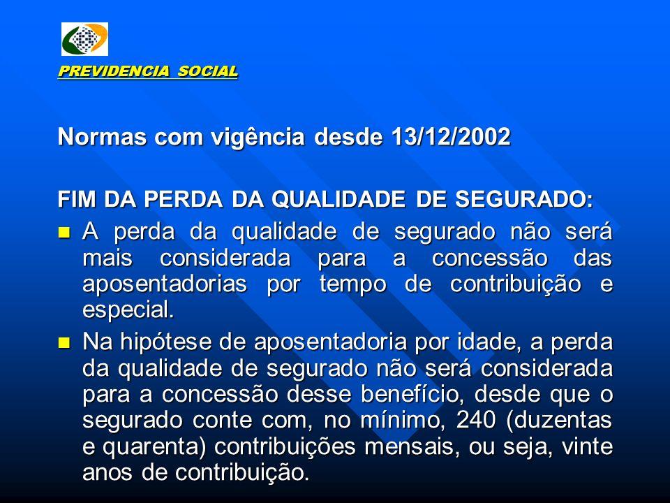 PREVIDENCIA SOCIAL Normas com vigência desde 13/12/2002 FIM DA PERDA DA QUALIDADE DE SEGURADO: A perda da qualidade de segurado não será mais consider