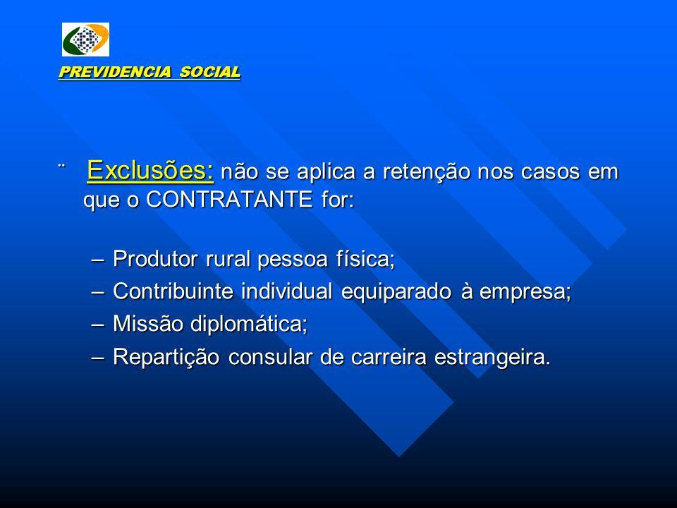 PREVIDENCIA SOCIAL Exclusões: não se aplica a retenção nos casos em que o CONTRATANTE for: Exclusões: não se aplica a retenção nos casos em que o CONT