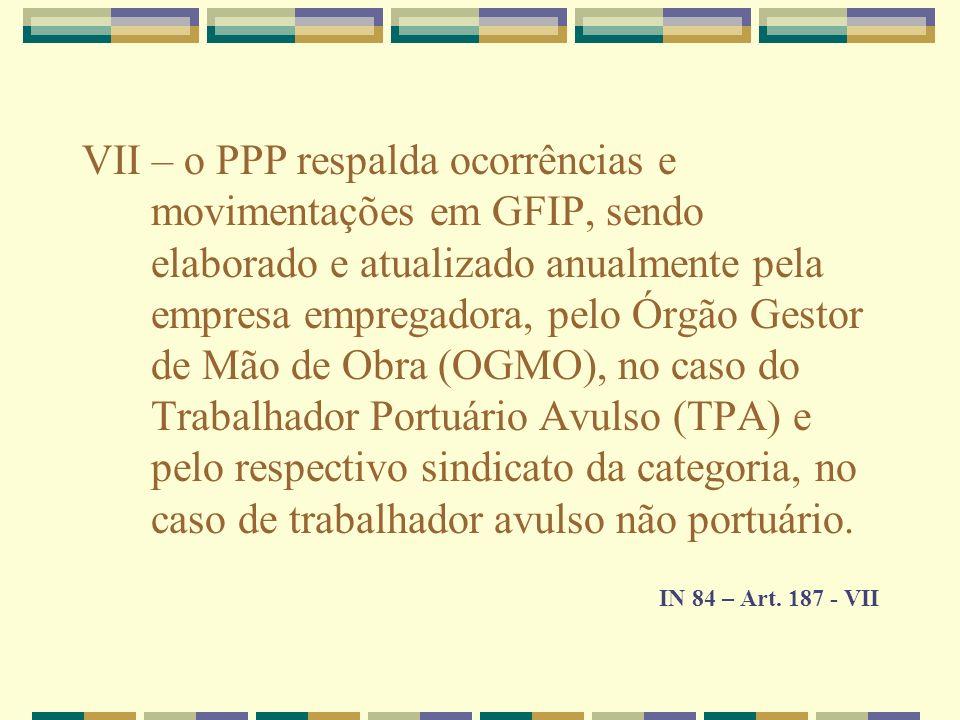 VII – o PPP respalda ocorrências e movimentações em GFIP, sendo elaborado e atualizado anualmente pela empresa empregadora, pelo Órgão Gestor de Mão d