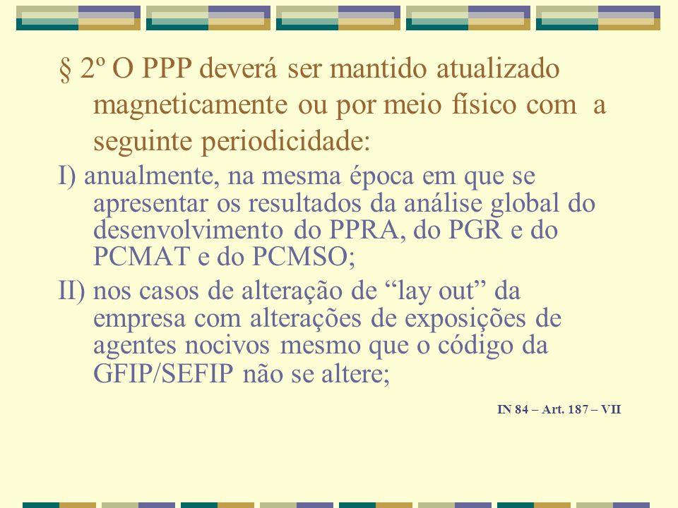 § 2º O PPP deverá ser mantido atualizado magneticamente ou por meio físico com a seguinte periodicidade: I) anualmente, na mesma época em que se apres