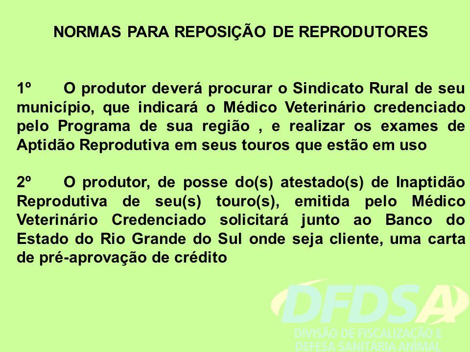 NORMAS PARA REPOSIÇÃO DE REPRODUTORES 1ºO produtor deverá procurar o Sindicato Rural de seu município, que indicará o Médico Veterinário credenciado p