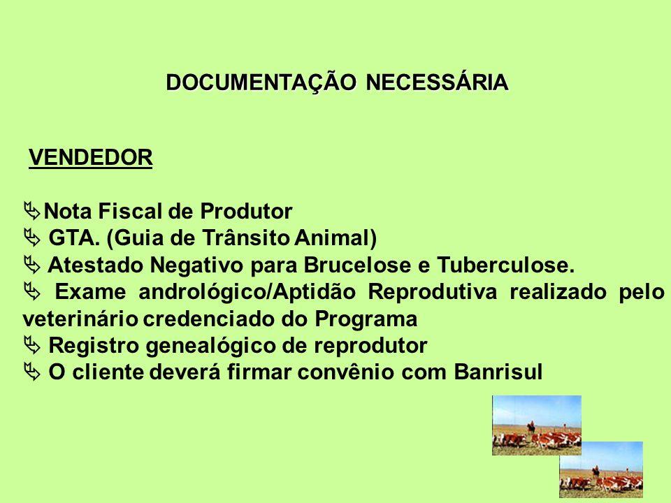 VENDEDOR Nota Fiscal de Produtor GTA. (Guia de Trânsito Animal) Atestado Negativo para Brucelose e Tuberculose. Exame andrológico/Aptidão Reprodutiva