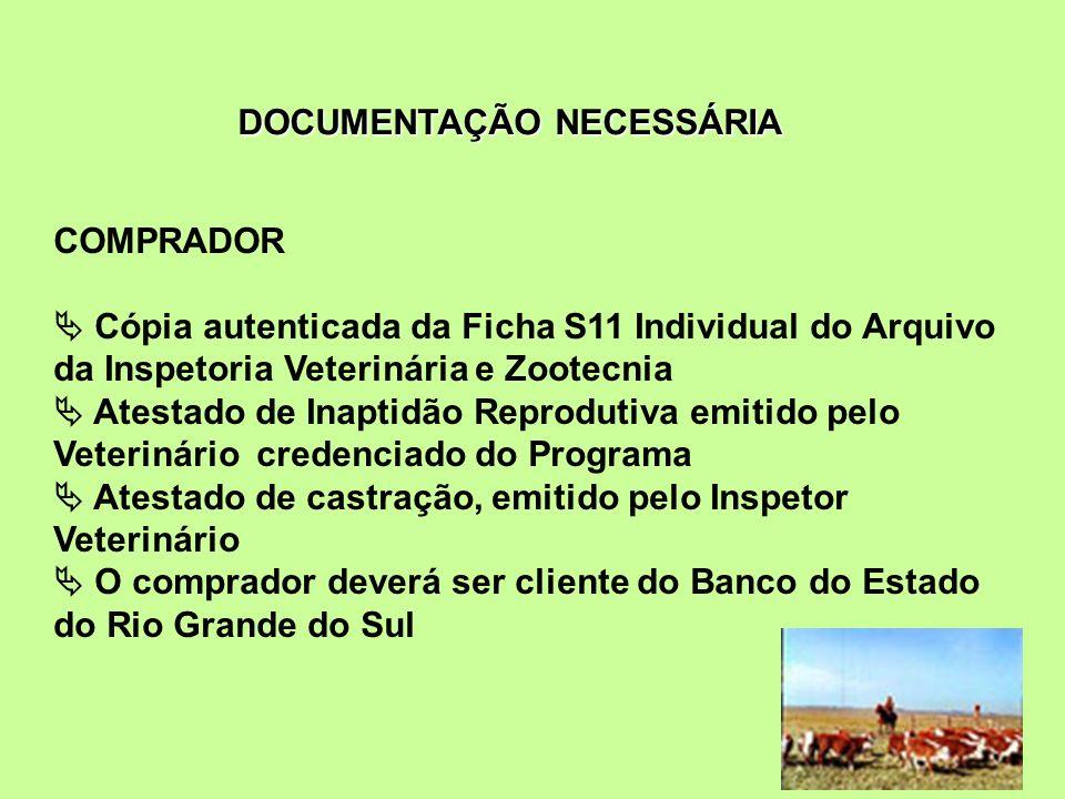 COMPRADOR Cópia autenticada da Ficha S11 Individual do Arquivo da Inspetoria Veterinária e Zootecnia Atestado de Inaptidão Reprodutiva emitido pelo Ve
