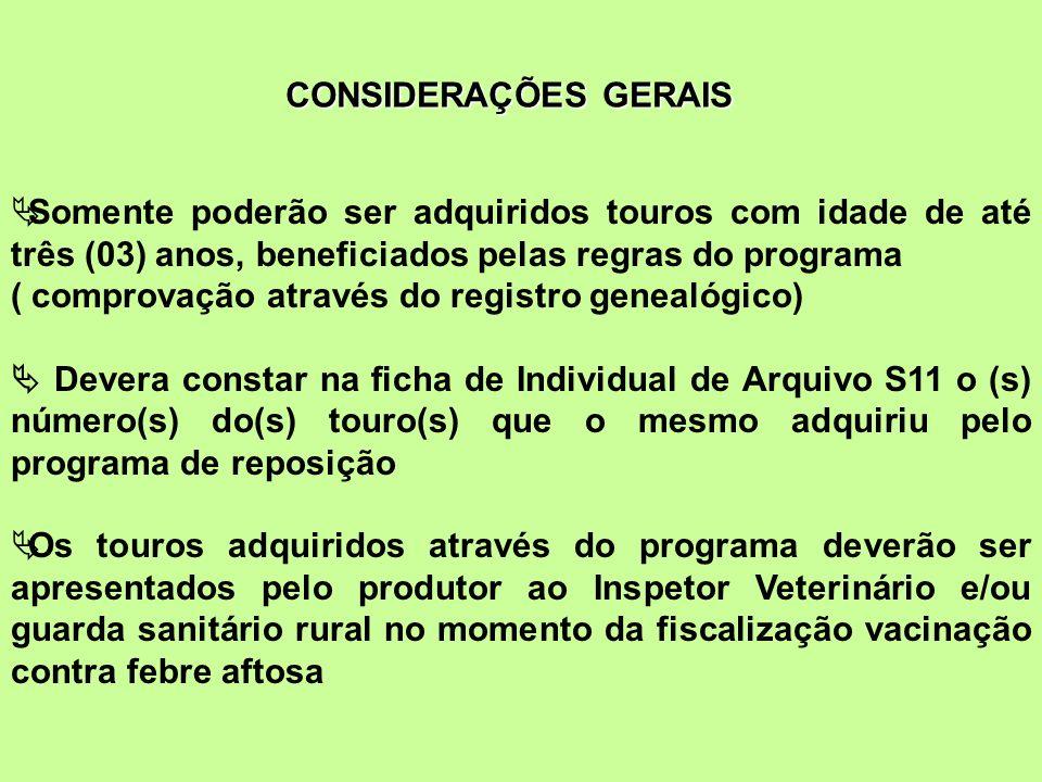CONSIDERAÇÕES GERAIS Somente poderão ser adquiridos touros com idade de até três (03) anos, beneficiados pelas regras do programa ( comprovação atravé