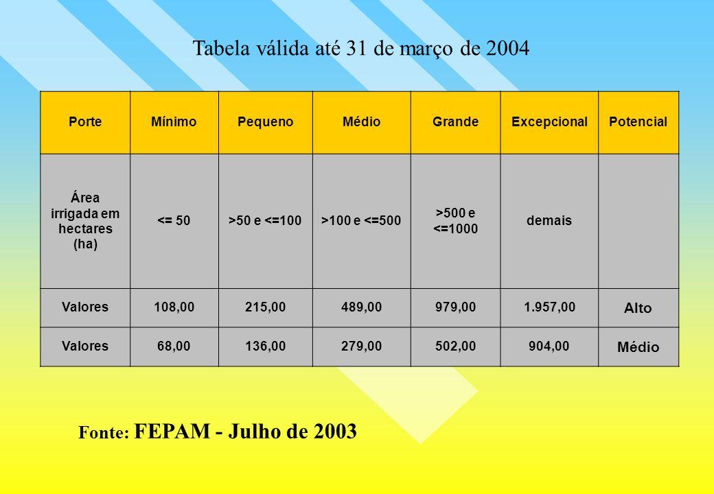 Fonte: FEPAM - Julho de 2003 PorteMínimoPequenoMédioGrandeExcepcionalPotencial Área irrigada em hectares (ha) <= 50>50 e <=100>100 e <=500 >500 e <=10