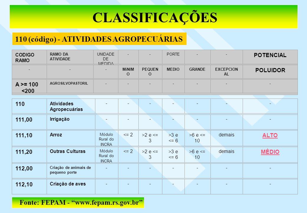 CLASSIFICAÇÕES Fonte: FEPAM - www.fepam.rs.gov.br 110 (código) - ATIVIDADES AGROPECUÁRIAS 110 Atividades Agropecuárias ------- 111,00 Irrigação ------