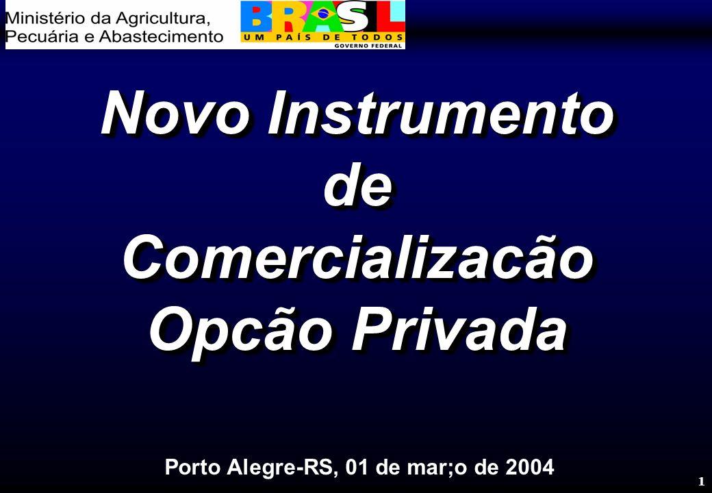 1 Novo Instrumento de Comercializacão Opcão Privada Novo Instrumento de Comercializacão Opcão Privada Porto Alegre-RS, 01 de mar;o de 2004