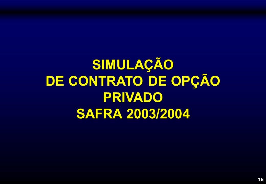 16 SIMULAÇÃO DE CONTRATO DE OPÇÃO PRIVADO SAFRA 2003/2004