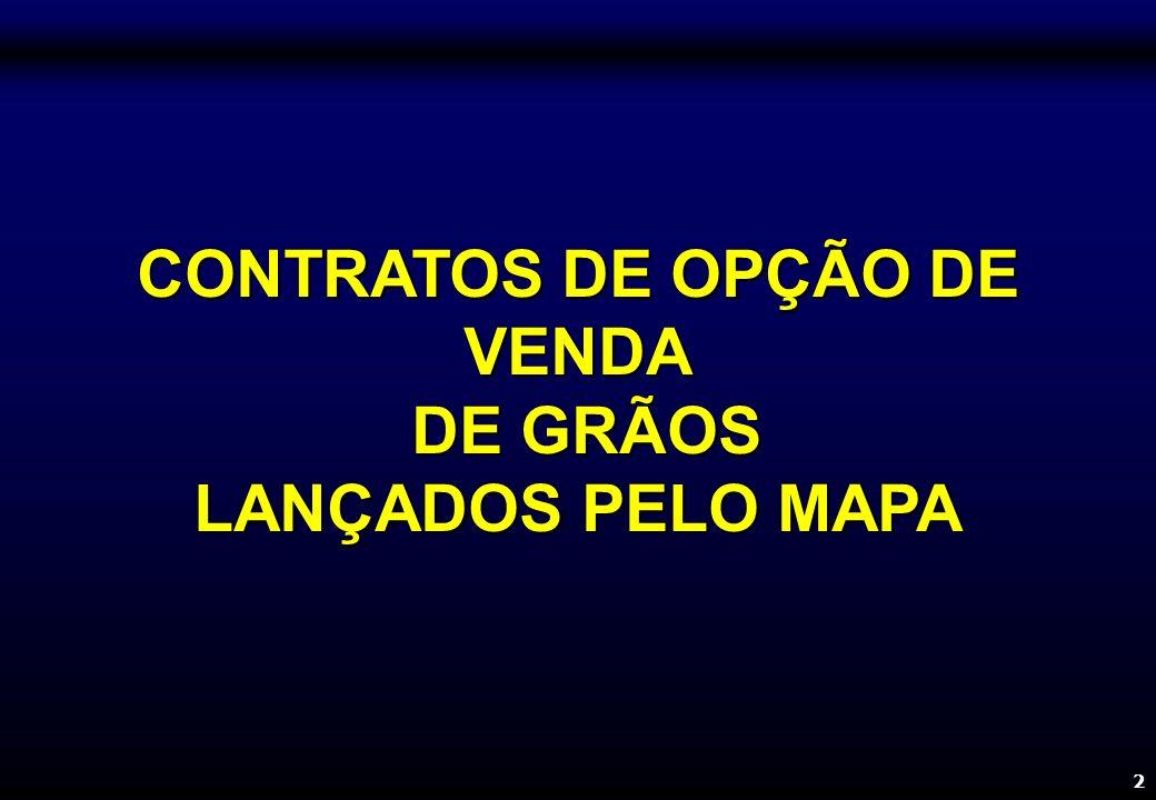 2 CONTRATOS DE OPÇÃO DE VENDA DE GRÃOS DE GRÃOS LANÇADOS PELO MAPA