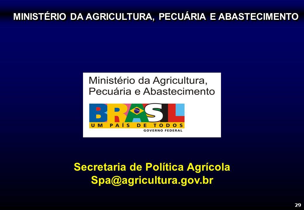 29 Secretaria de Política Agrícola Spa@agricultura.gov.br MINISTÉRIO DA AGRICULTURA, PECUÁRIA E ABASTECIMENTO